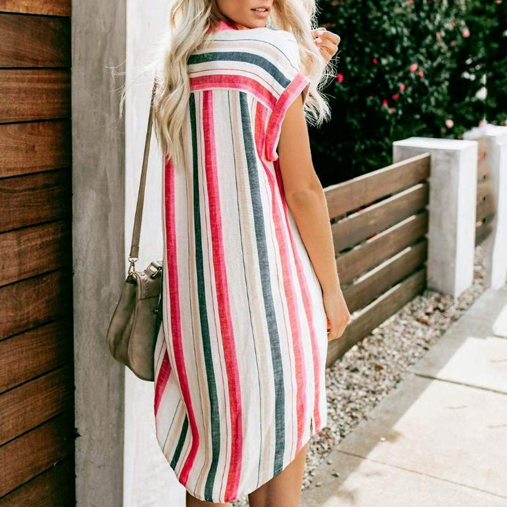 Womens Fashion Button Down Striped Casual T-Shirt Dresses Summer Lapel Tee Short Sleeve Loose Swing Dress