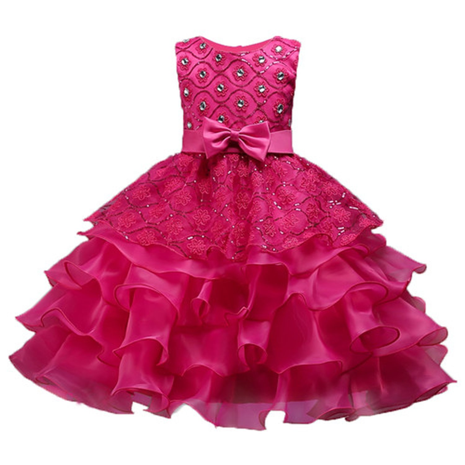 Knee Length Christmas Lace Ruffles Flower Girl Dresses Crystal O-Neck Pageant Dresses for Girls,Rose red,Child-6