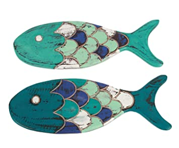 Blue And Teal Wood Fish Wall Decor 14.5 Inches Set Of 2 Hand Carved