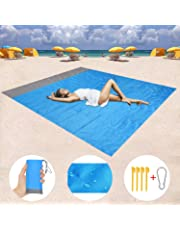 """Homened Sand Free Beach Blanket, Waterproof Blanket Mat Sand Proof Outdoor Picnic Beach Mat for Travel, Hiking, Camping, Music Festival with Storage Bag + 4 Stakes (79""""×55"""")"""
