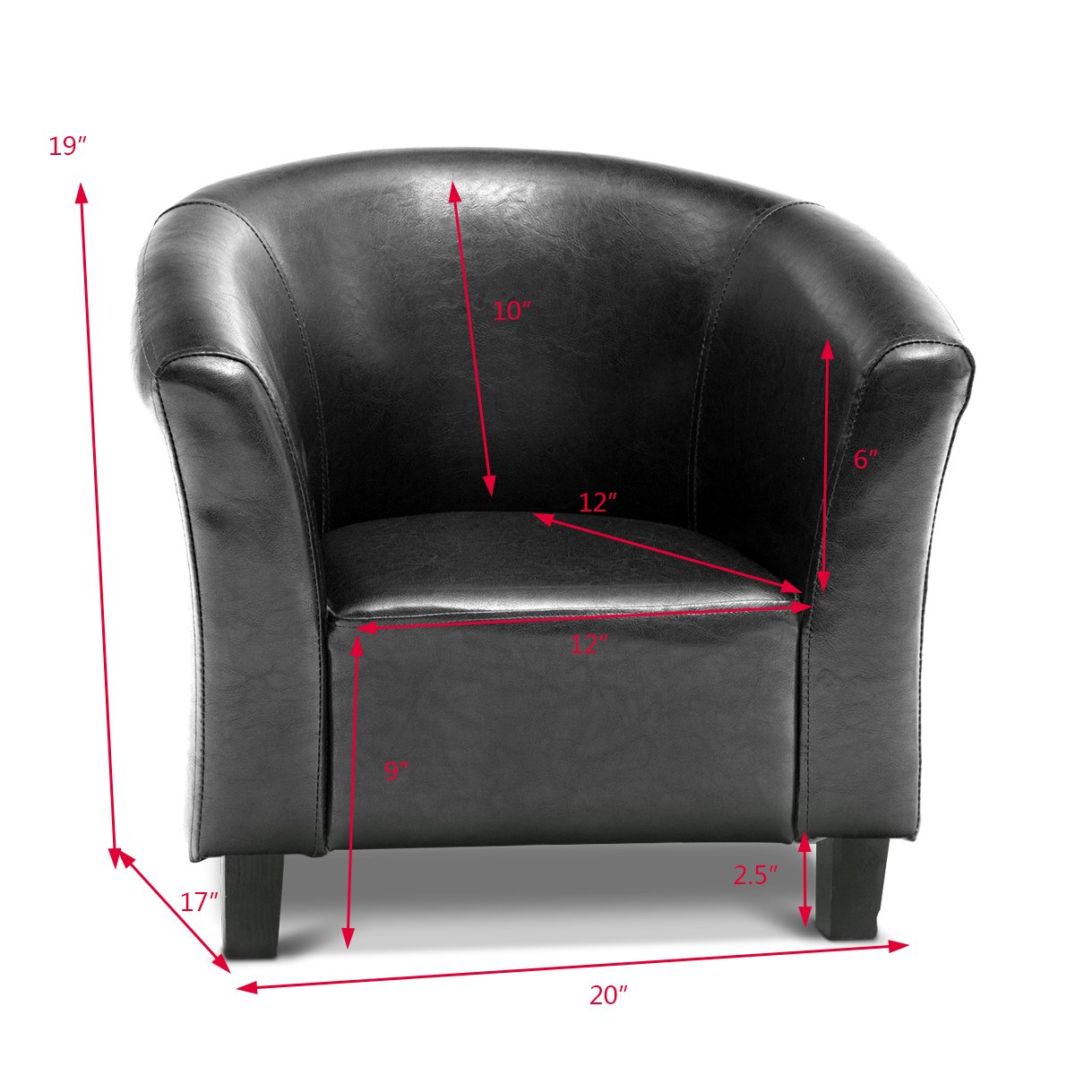 Costzon Kids Sofa Tub Chair Couch Children Living Room Toddler Furniture (PU Leather, Black) by Costzon (Image #6)