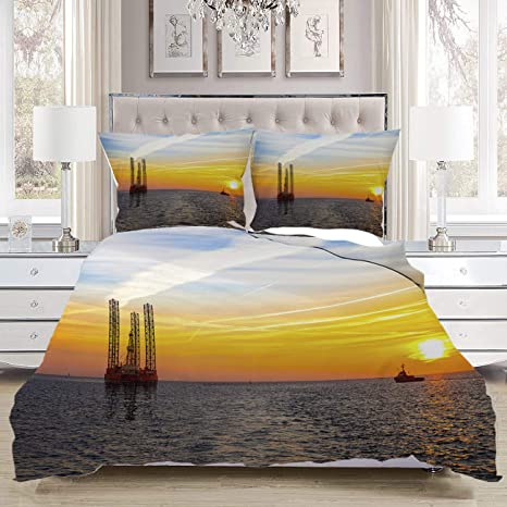 Amazon Com Mingz Bedding Comforters Luxury Soft Comfortable Oil Rig Luxurious Bedroom Bedding Set Twin Size Home Kitchen
