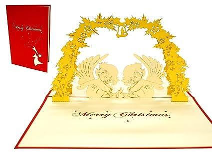 Lin Pop Up tarjeta 3d Tarjetas de Navidad Ángeles: Amazon.es ...