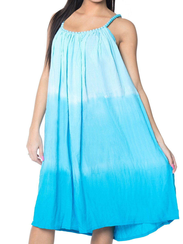 LA LEELA Rayon Tie Dye Womens Wedding Maxi Tube Evening Midi OSFM 14-18 [L-2X] Turquoise_3319
