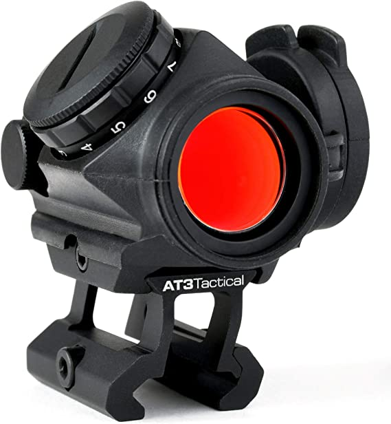 AT3 Tactical RD-50 PRO Red Dot Sight - with Riser Mount for Cowitness with Iron Sights - 2 MOA Compact Red Dot Scope