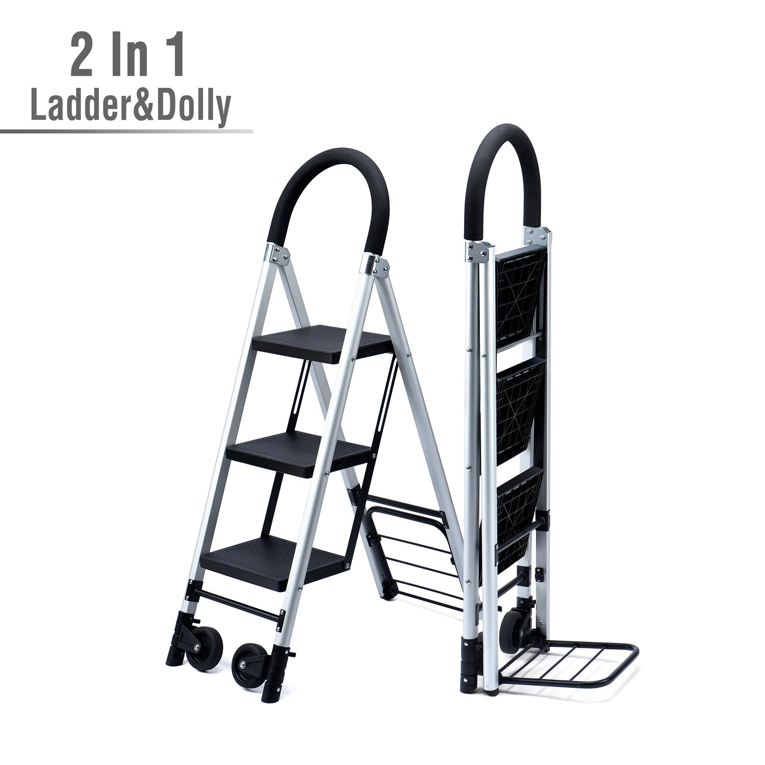 Delxo 2 in 1 Convertible 3 Step Ladder and Flodable Hand Truck with Soft Handgrip Anti-Slip Widen Pedals Multi-Use for Home Office Photographers Ladder 264lbs Space Saving 3-Feet