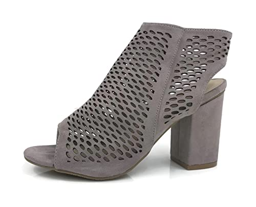 329775be63ad Bella Marie Open Toe Mule Sandal Perforated Ankle Bootie Stacked Chunky Heel