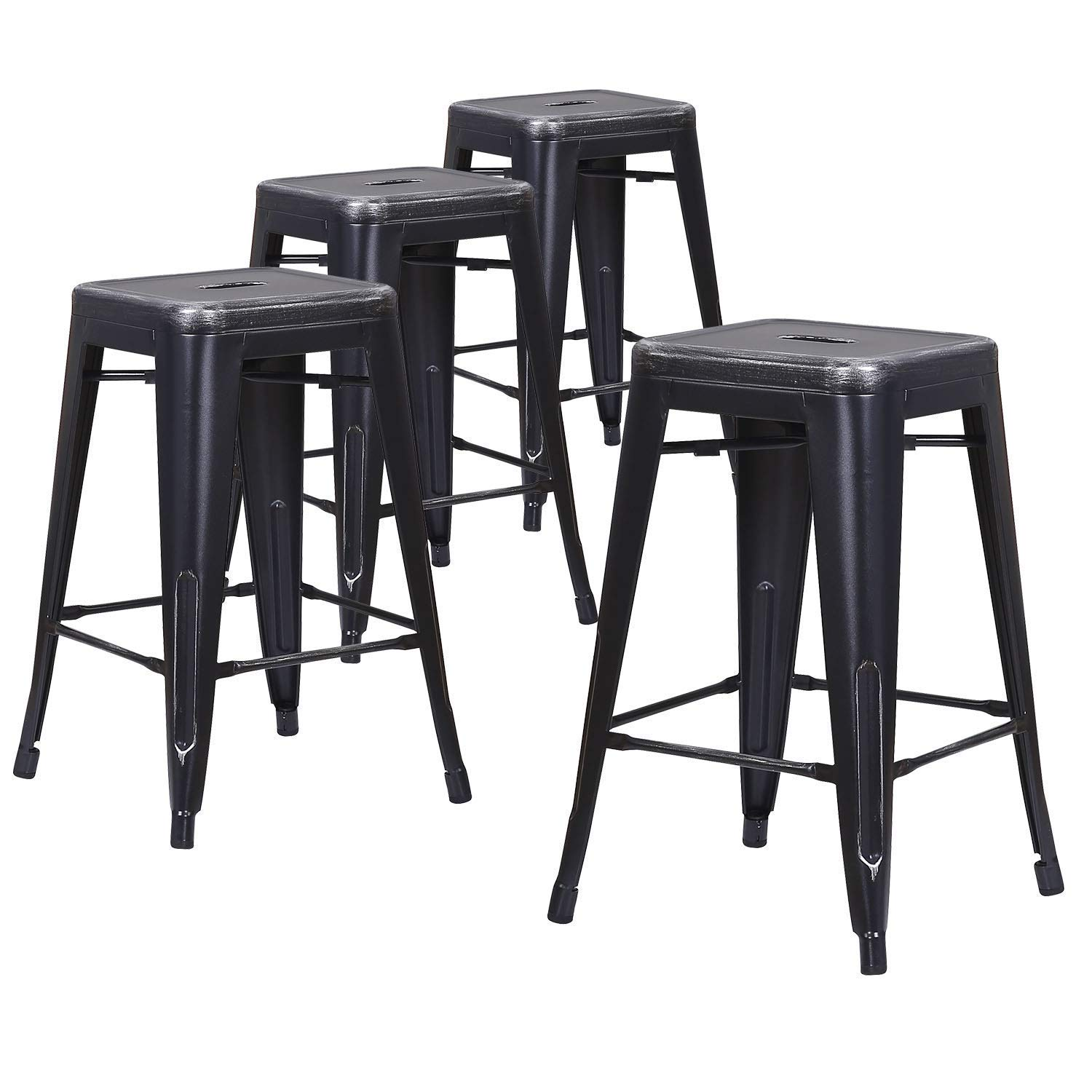 LCH 24 Metal Industrial Backless Bar Stools, Set of 4 Indoor Outdoor Counter Stackable Barstool, Silver Sanded Black