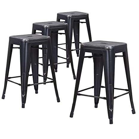 Peachy Lch 24 Metal Industrial Backless Bar Stools Set Of 4 Indoor Outdoor Counter Stackable Barstool Silver Sanded Black Squirreltailoven Fun Painted Chair Ideas Images Squirreltailovenorg