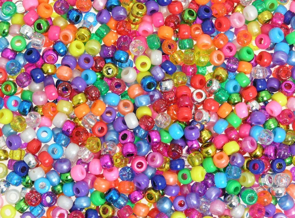 1000pk Metallic/Pearlised/Glitter/Bright Pony Beads 4-in-1 Assortment CI