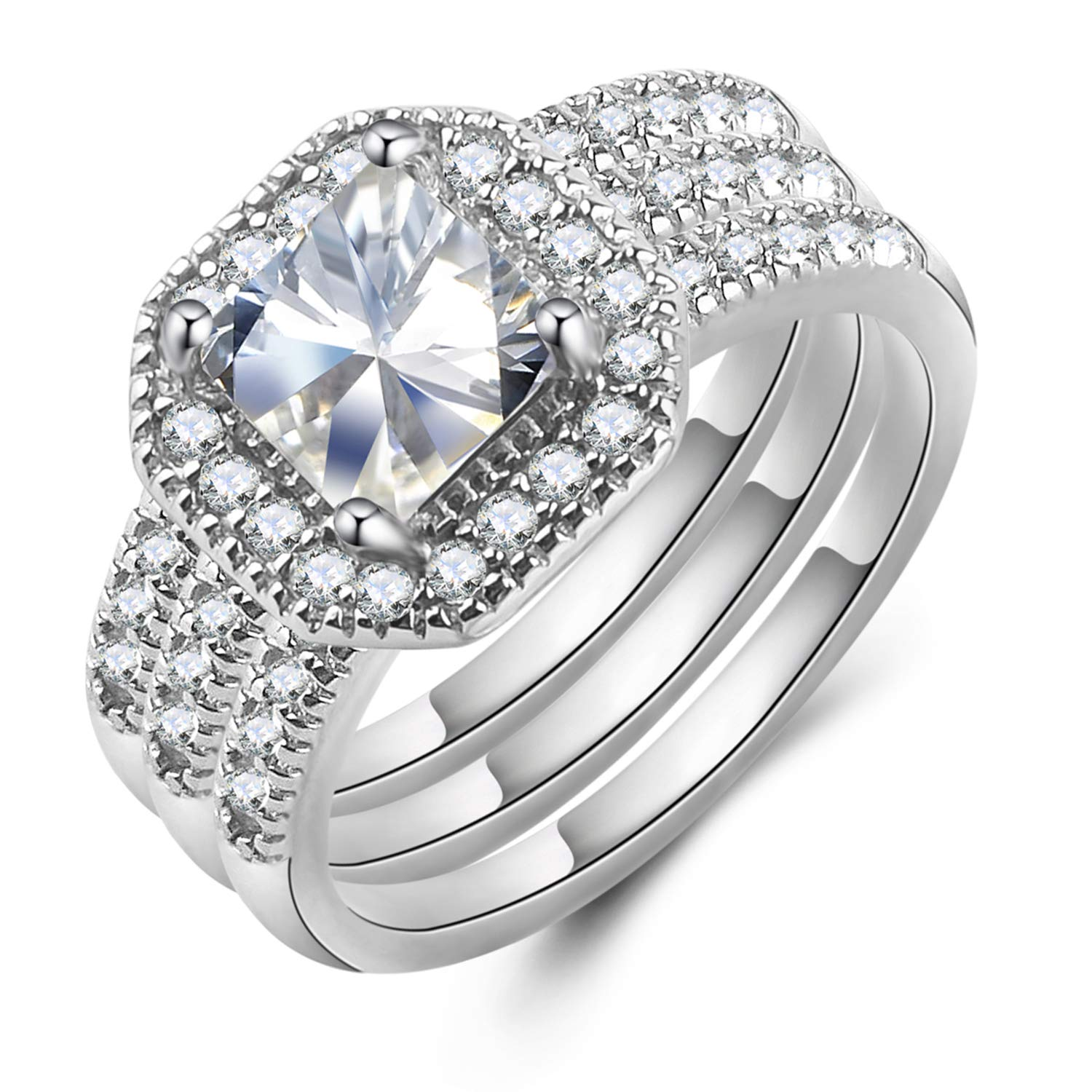 Mars wings Sterling Silver CZ Wedding Engagement Gifts for Women Rings|3 Pcs Ring Band Set