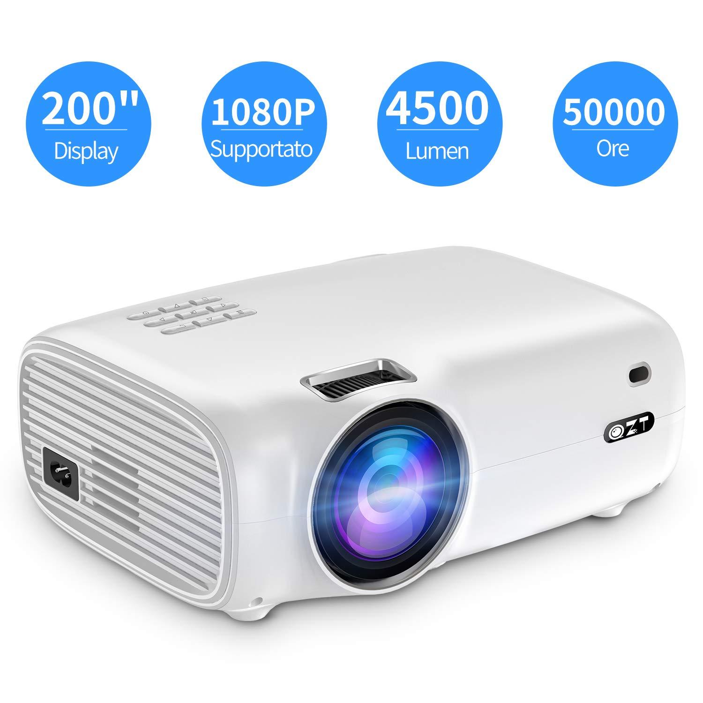 Proiettore Full HD, QZT Videoproiettore Portatile 4500 Lumen