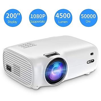 Proyector QZT 1080P con Pantalla de 200 Pulgadas, LED de 50.000 ...