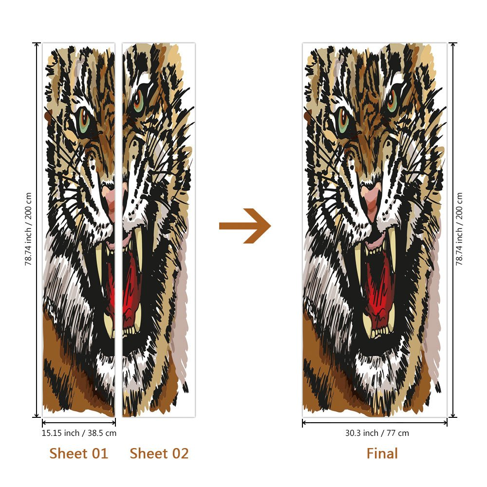 Amazon.com: 3d Door Wall Mural Wallpaper Stickers [ Tiger ...