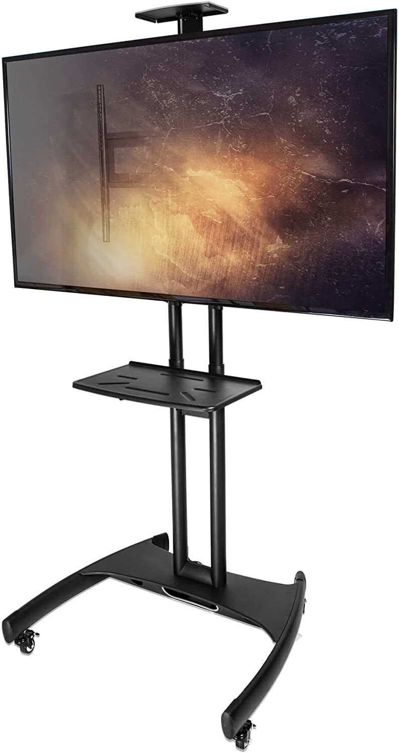 Kanto MTM65PL-S Height Adjustable Mobile TV Cart with Adjustable Steel Tray and Camera Shelf | Integrated Cable Management | Perfect for Offices and Homes | Supports 37 in - 65 in TVs