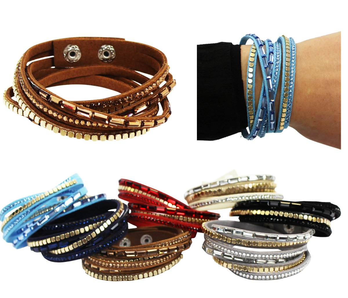 CoverYourHair Bracelets for Women - 4 Pack Cuff Bracelet - Multi Strand Bracelet - Leather Bracelet