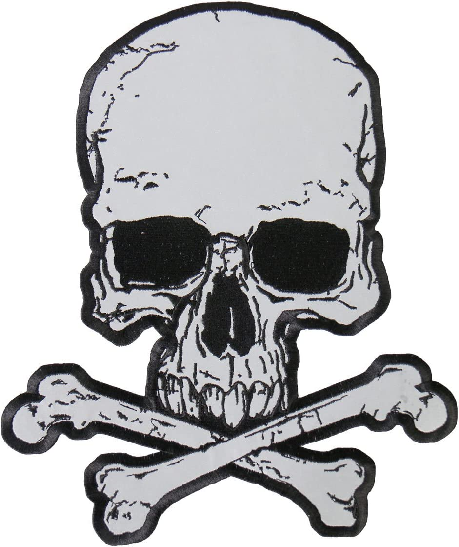"""XL SKULL /& CROSSBONES Large Embroidered PATCH Iron On Motorcycle 10.5/"""""""
