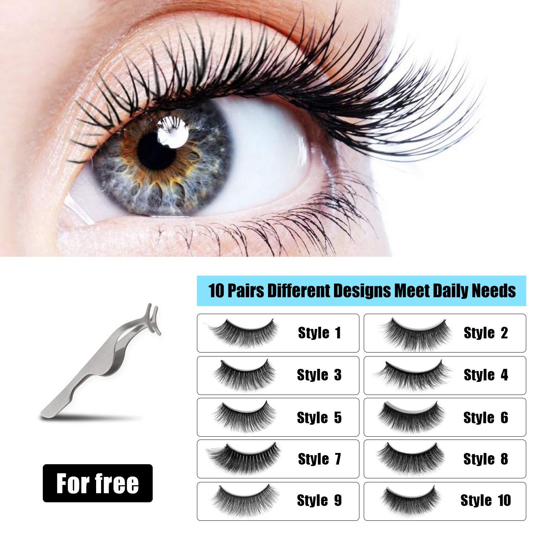 b28b077f1bf Amazon.com : 10 Pairs Fake Eyelashes Reusable 3D Handmade False Eyelashes  Set for Natural Look with False Lashes Applicator-10 Styles : Beauty