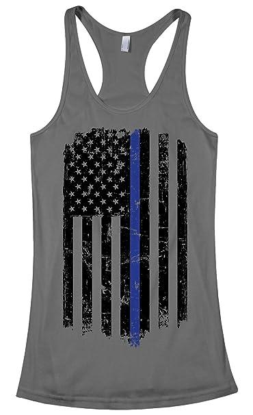 5c7a837230a Threadrock Women s Thin Blue Line American Flag Racerback Tank Top S  Charcoal