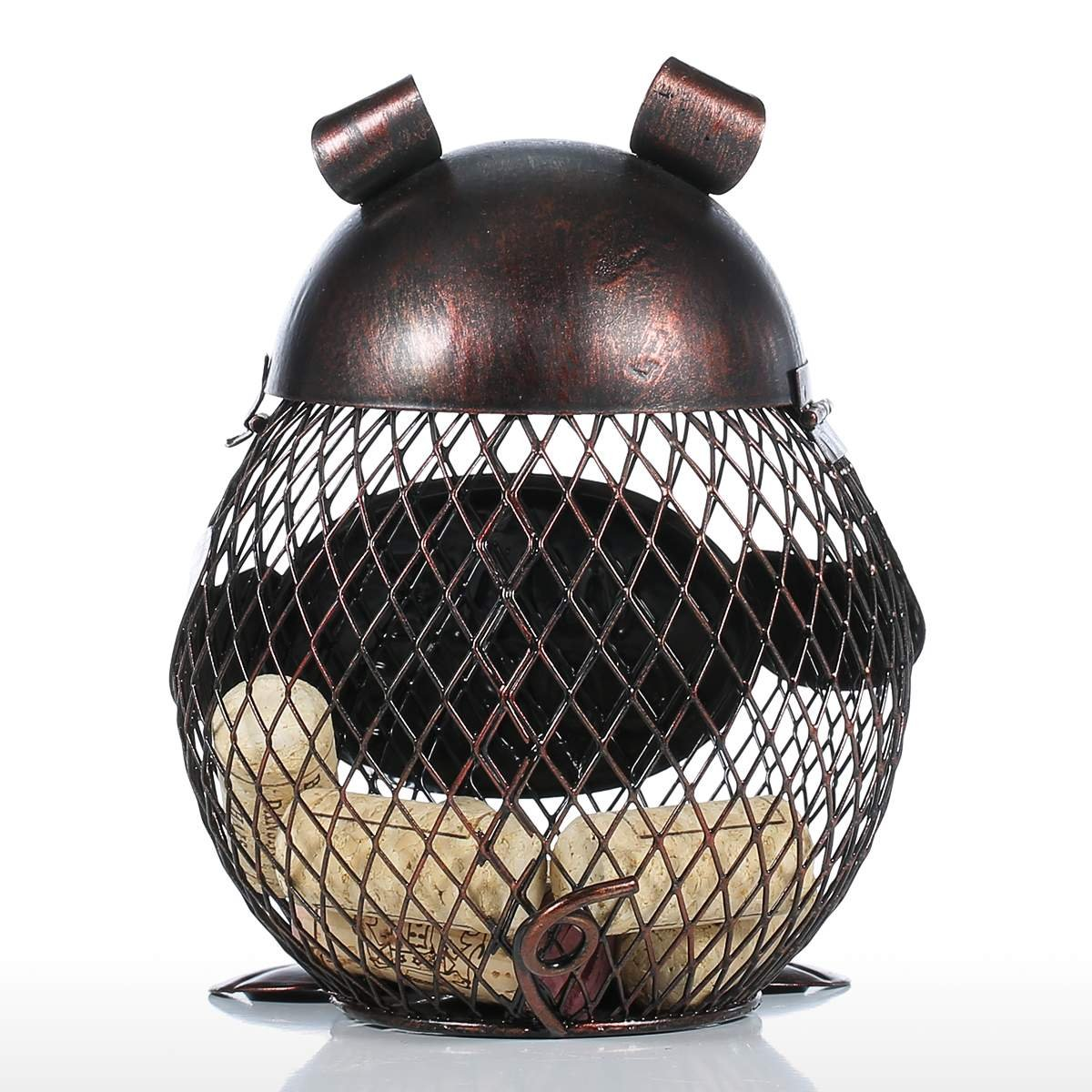 Tooarts Piggy Wine Barrel Cork Cage Container Metal Sculpture Handicraft Gift Home Decor by Tooarts (Image #3)