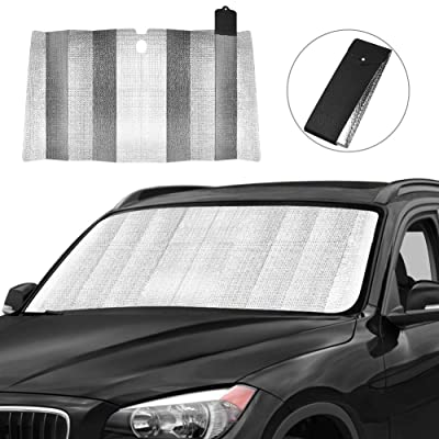 Car Windshield Sun Shade, Front Window Car Sun Shade for Windshield - Blocks UV Rays Sun Visor Protector, Foldable Sun Reflector to Keep Your Vehicle Cool, Easy to Use (Black): Automotive