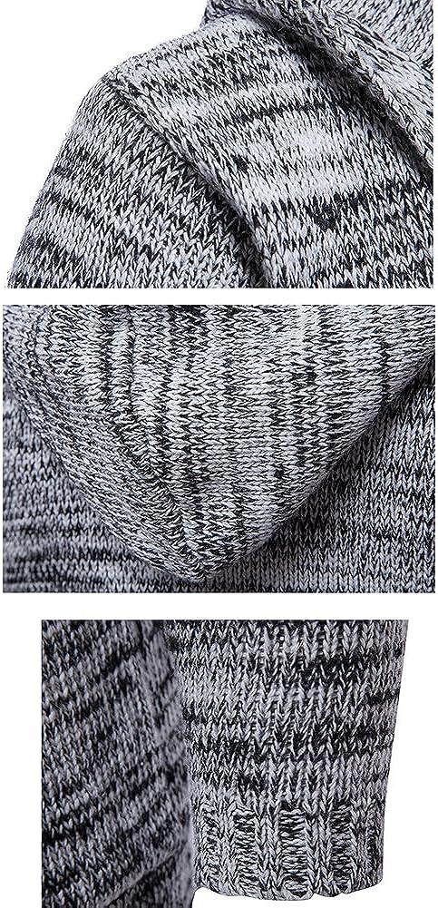 Highdas Herren Strickjacke Hooded Cardigan Sweaters Jungen Kapuzenpullover Pulli Strick Jacken Thickes Mantel Strickmantel Winterpulli Sweater Coat Strickwaren Outfits Outwear Grau Schwarz M-XXL
