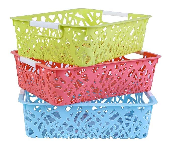 SAMPLUS MALL  LABEL  Plastic Home Kitchen Vegetable Fruit Stackable Rectangle Shape Basket Storage Stacking Rack and Storage Bins   3 Piece