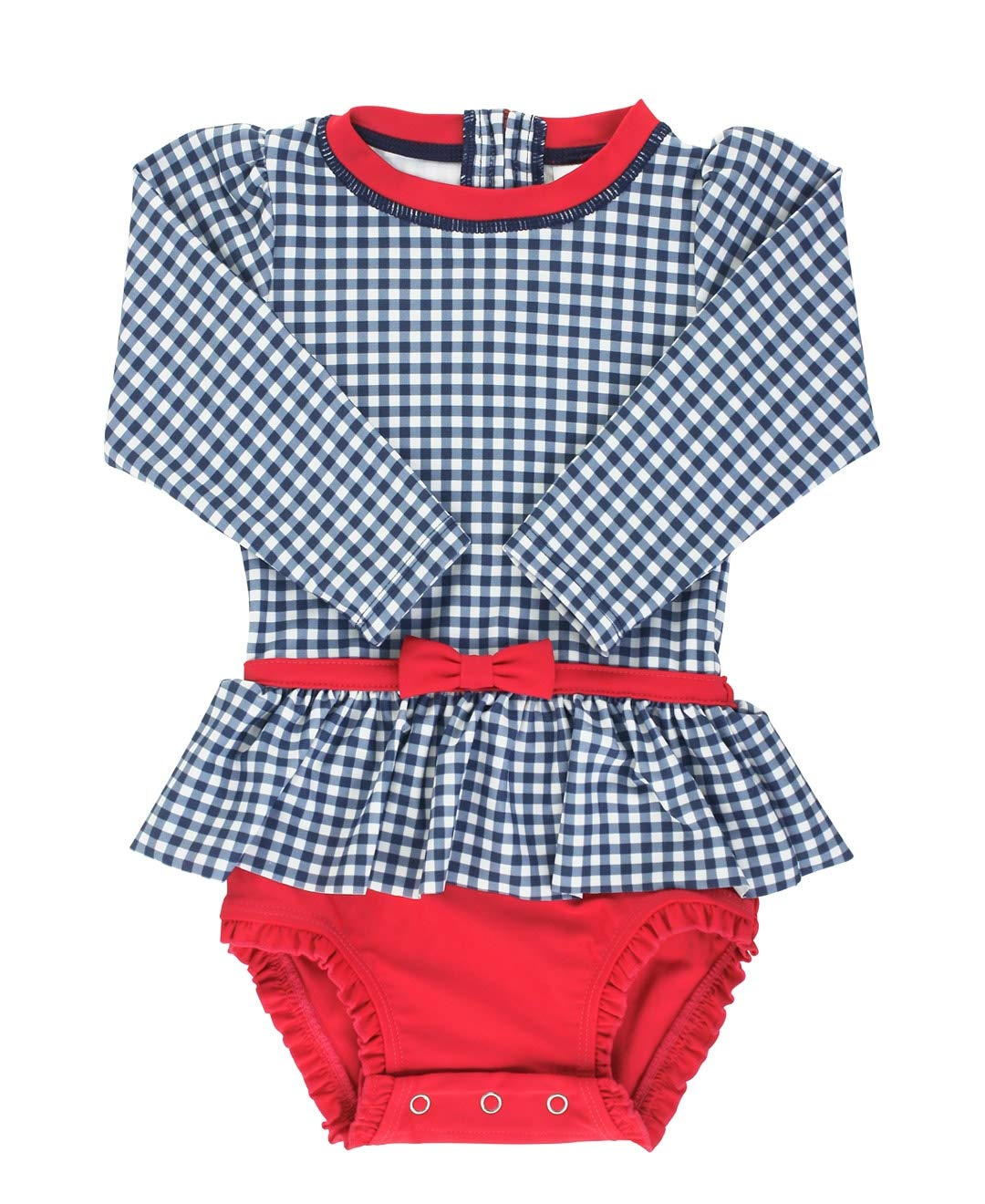 RuffleButts Baby//Toddler Girls Long Sleeve One Piece Swimsuit 6-12m Aqua Polka Dot with UPF 50 Sun Protection