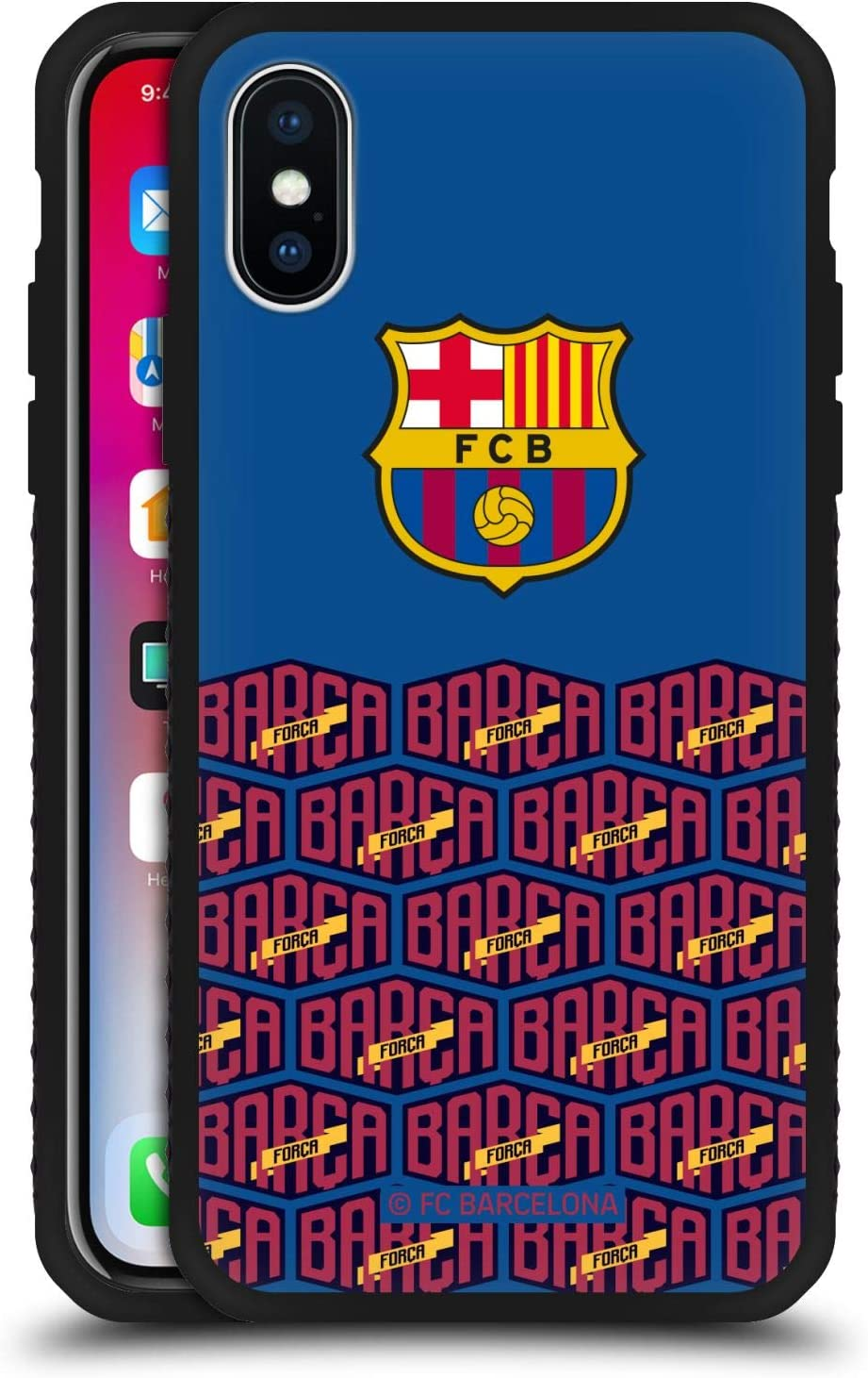 Amazon Com Head Case Designs Officially Licensed Fc Barcelona Logo And Pattern Forca Barca Black Armour Lite Case Compatible With Apple Iphone X Iphone Xs