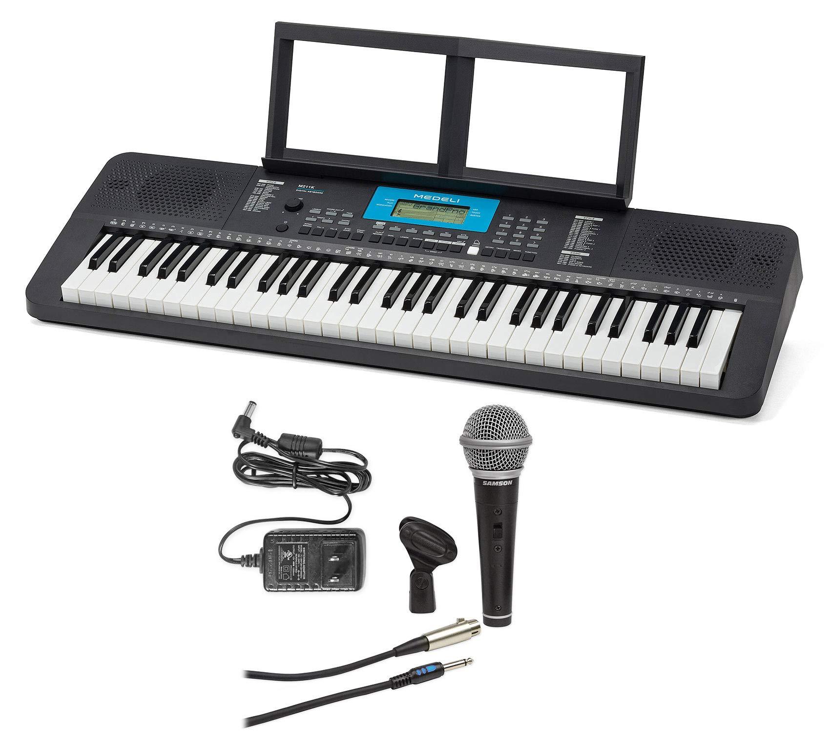 MEDELI M211K 61-Key USB MIDI Keyboard 32-Note Polyphony/Reverb+Mic+Power Suuply