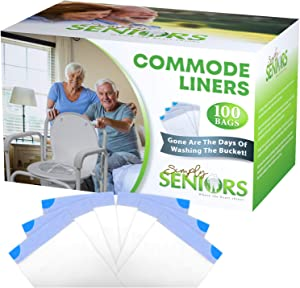 Commode Liners - 100 Strong Portable Toilet Bags - Easy To Use Bedside Commode Liners Disposable - Toilet Liners That Support Dignity of Seniors & Disabled - No More Buckets to Wash - NO Absorbent Pad