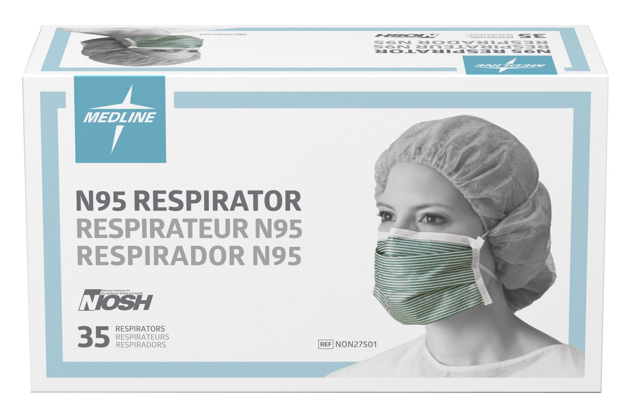 Medline NON27501 N95 Flat Fold Respirator Masks, Cellulose, Latex Free, White/Green (Pack of 210) by Medline (Image #3)