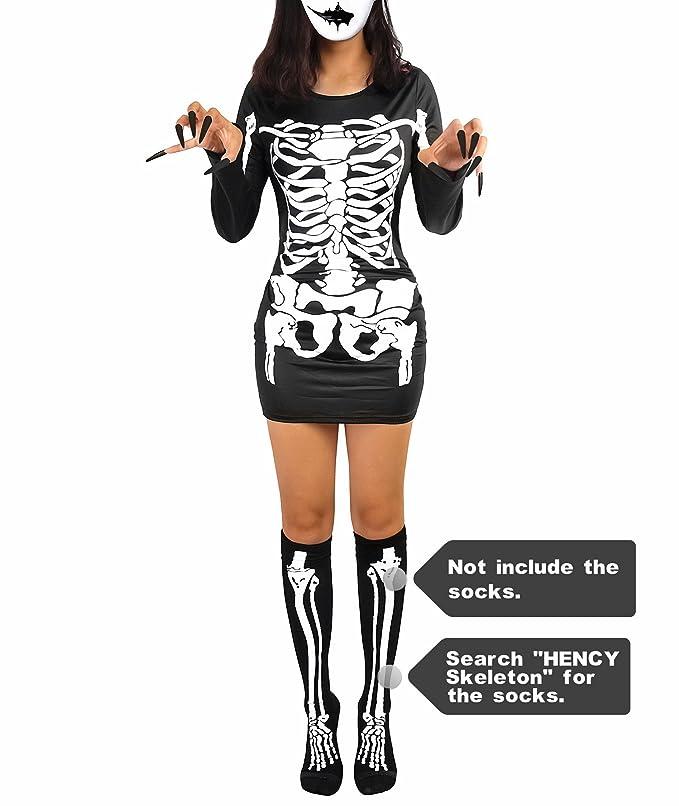 Halloween lange Strumpfhosen drucken Skelett Knochen Handschuh Ärmel Cosplay Neu