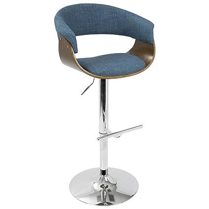 eae91b3c2483 Amazon.com: LumiSource Vintage Mod Barstool - Walnut, Blue: Kitchen ...
