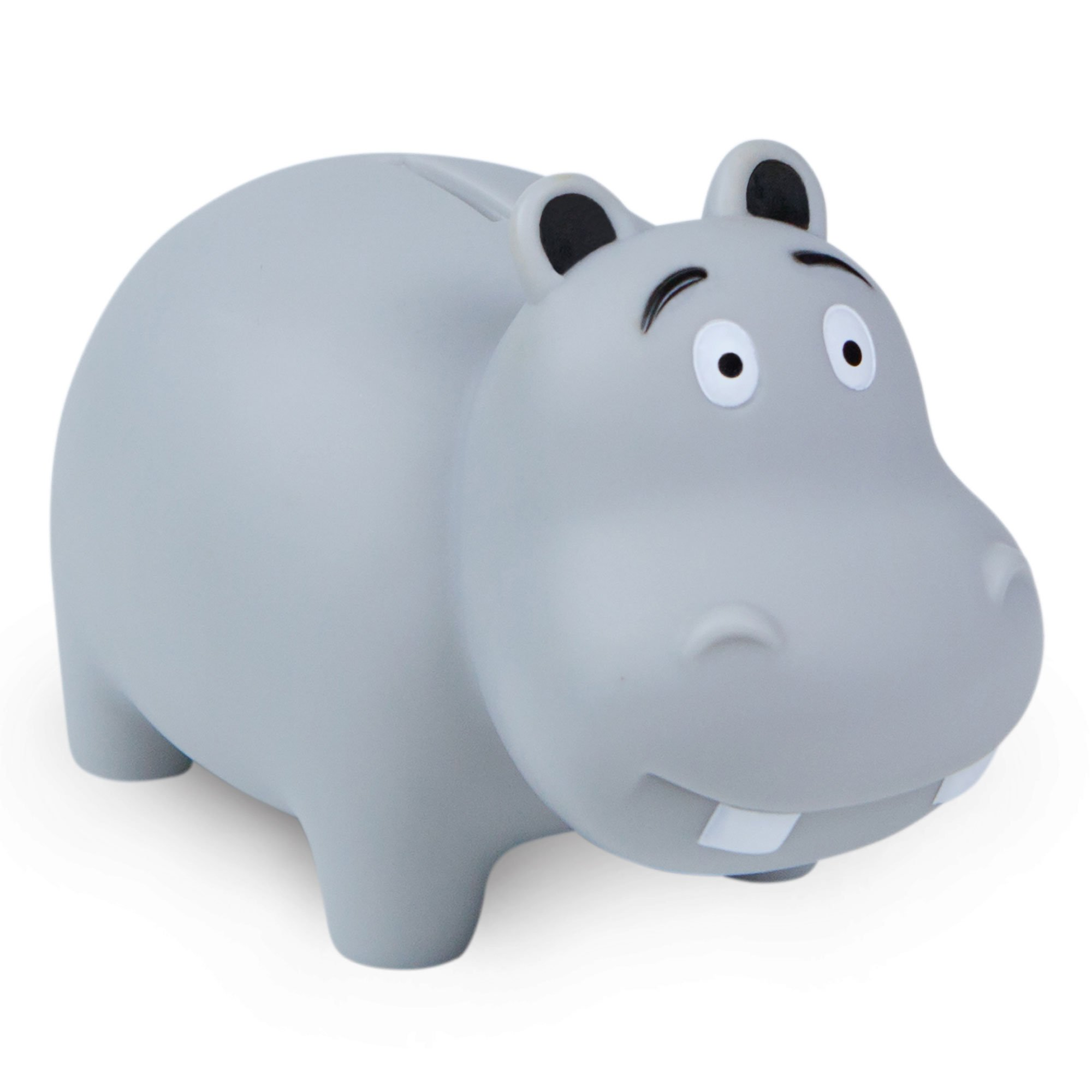 WADDLE Cute Hippo Popular Animal Unisex Piggy Bank Durable Drop Resistant Money Coin Holder for Kids, Babies, Infants, and Toddlers Grey (Gray) | Favorite Unique Gift Idea