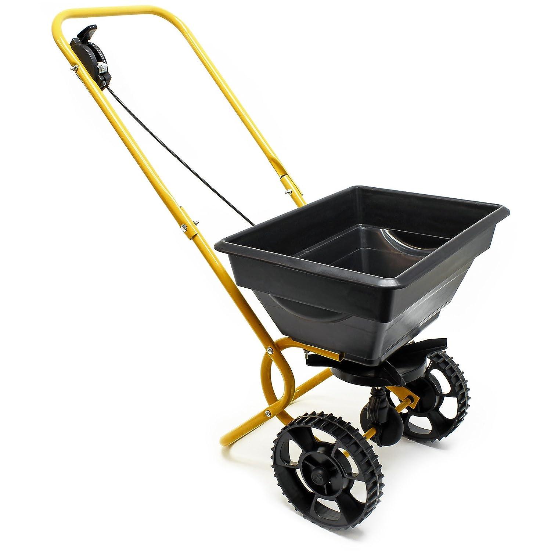 Carro esparcidor de 25 kg con neumá ticos de plá stico para abono de semillas de sal para carreteras WilTec 50142