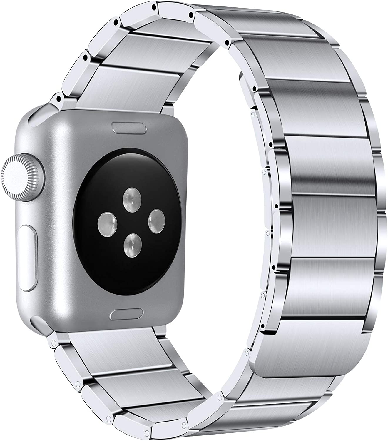 LEOMARON Armor Series Band Compatible with Apple Watch 40mm 44mm 38mm 42mm, Heavy Duty Stainless Steel Magnetic Wristband for iWatch Series 6/SE 5 4 3 2 1 Silver