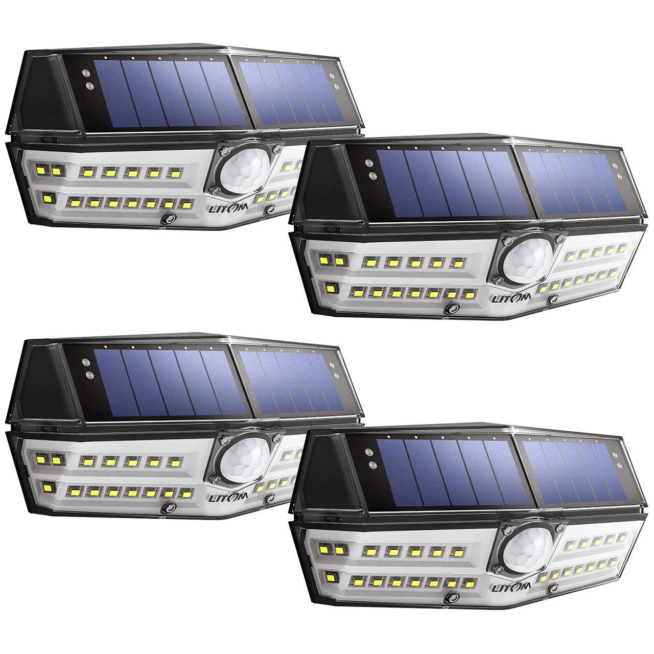 LITOM 30 LED Solar Lights Outdoor, Enhanced IP67 Waterproof Wireless Solar Motion Sensor Lights(White Light), 270°Wide Angle, Easy-to-Install Security Lights for Front Door, Yard, Garage, Deck-4 Pack