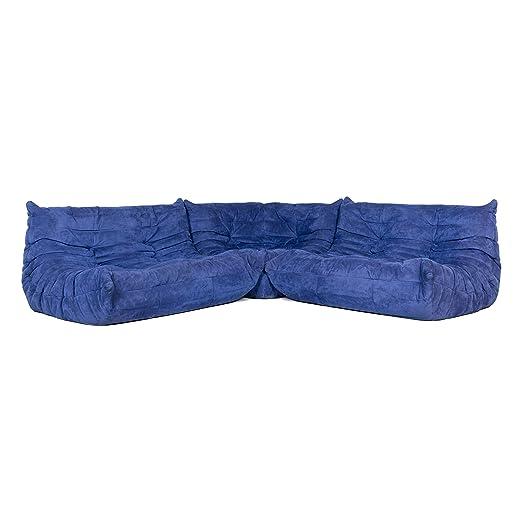ligne roset Togo Designer Fabric Corner Sofa Blue Sofa Couch ...