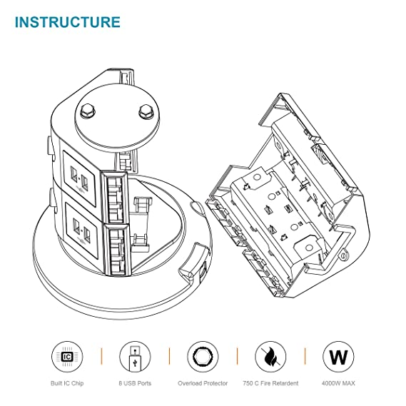 Safemore Surgestrip Extension Lead 4 Way Outlets With Amazon Co Uk