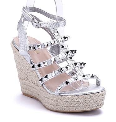 1f2ae59d81712b Schuhtempel24 Damen Schuhe Keilsandaletten Sandalen Sandaletten Silber  Keilabsatz Nieten 11 cm High Heels