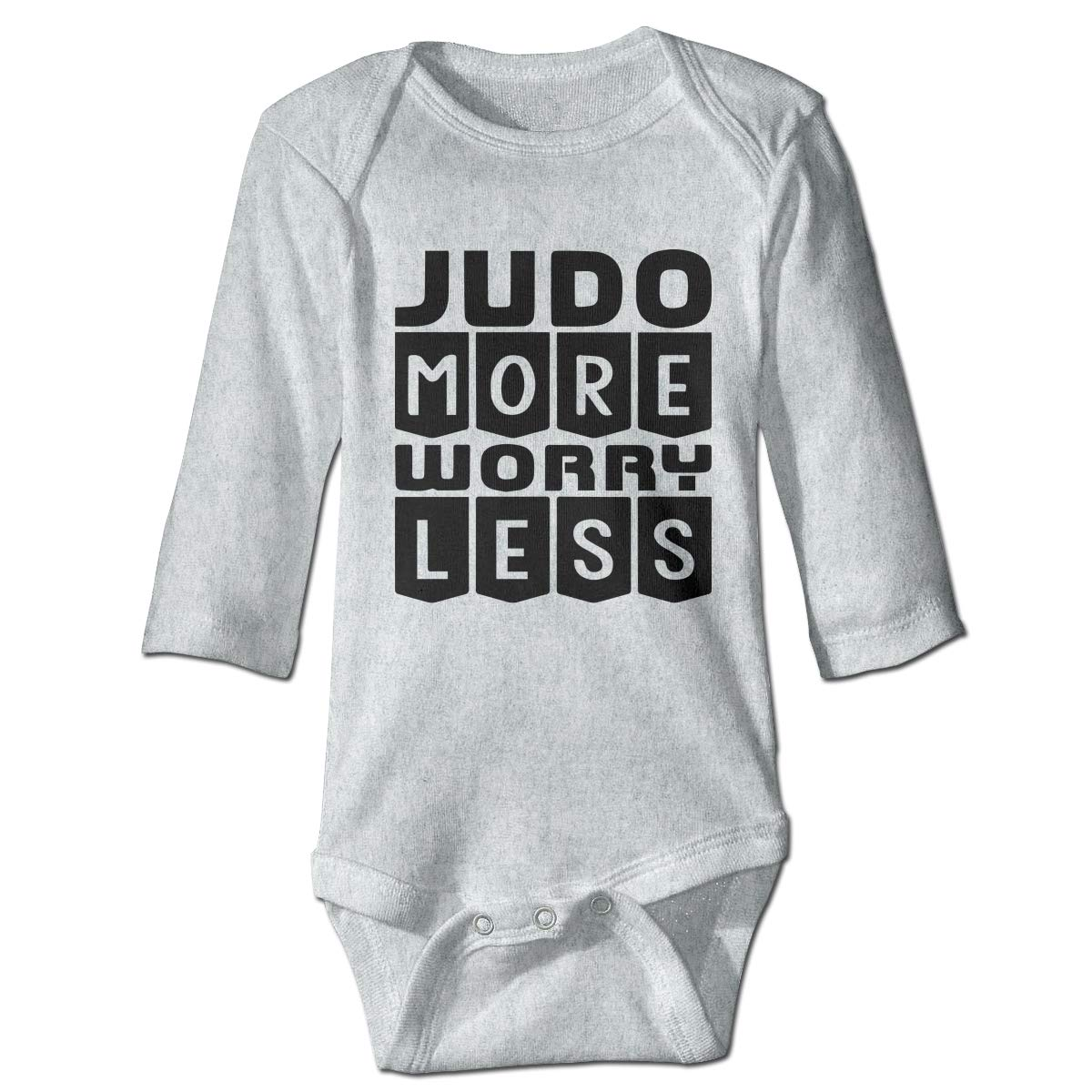 A14UBP Baby Infant Toddler Romper Bodysuit Jumpsuit Judo More Worry Less Long Sleeve Funny Romper Bodysuit