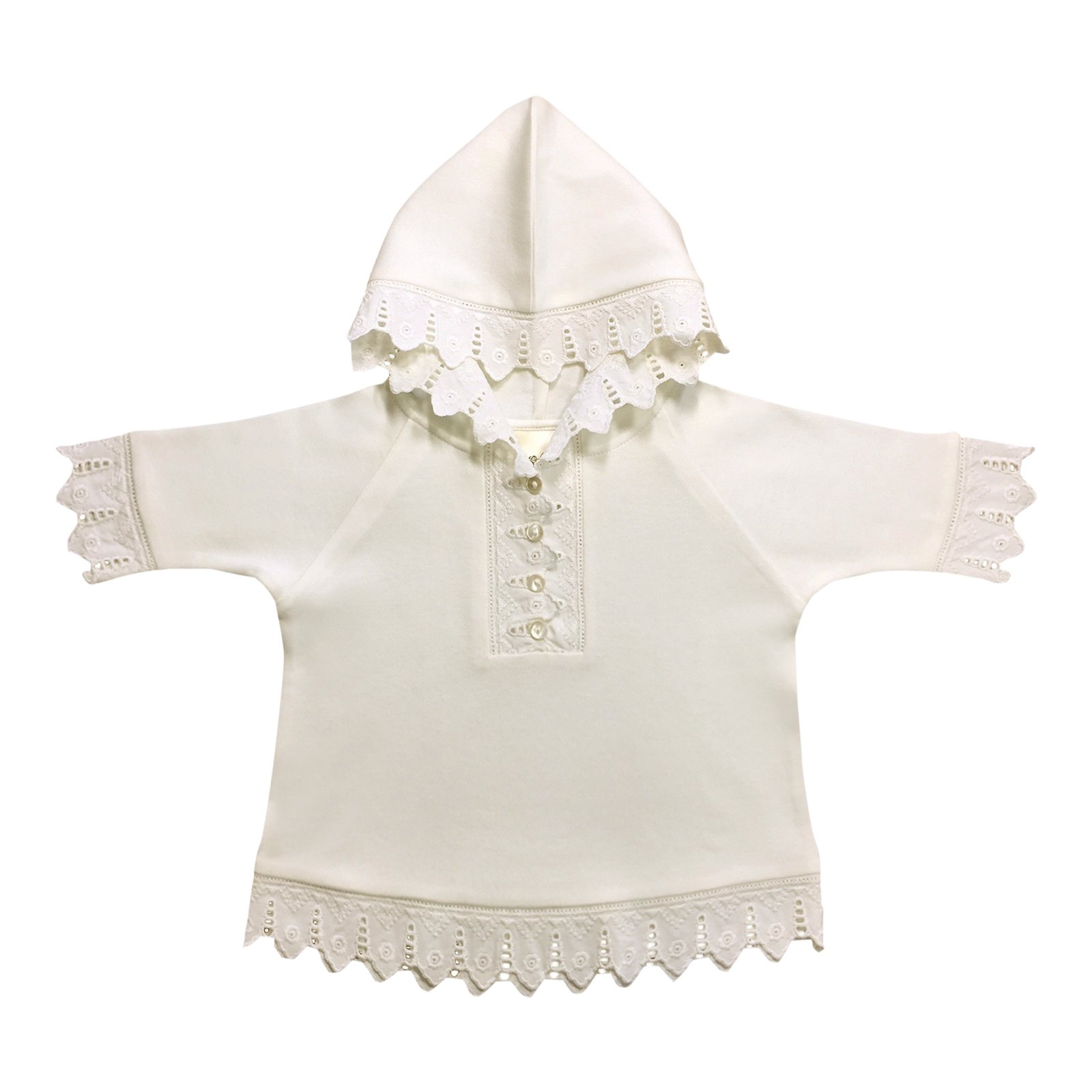 Victorian Organics Little Girls Hoodie Organic Cotton and Lace Toddler Button Henley Shirt (3T 3 Toddler, Antique White)