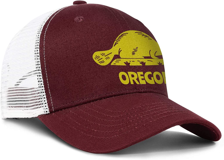 Yellow Beaver Oregon State Men//Women Pattern Baseball Caps Hip Hop Hats