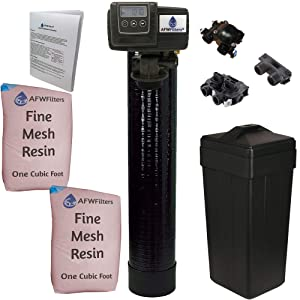 AFW Filters IRON Pro 2 Combination water softener iron filter Fleck 5600SXT digital metered valve for whole house (64,000 Grains, Black)