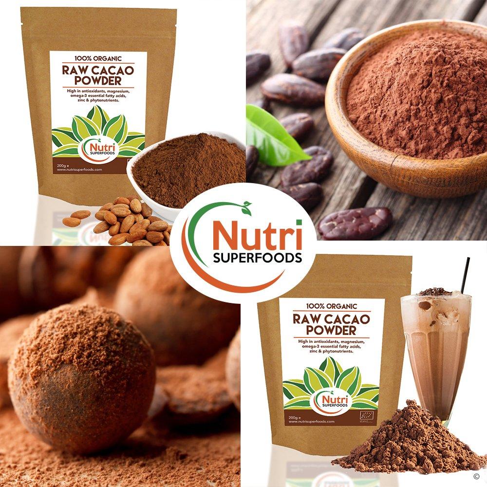 Cacao Orgánico en Polvo Crudo, Superalimento Vegano y Sin Azúcar - 200g: Amazon.es: Alimentación y bebidas