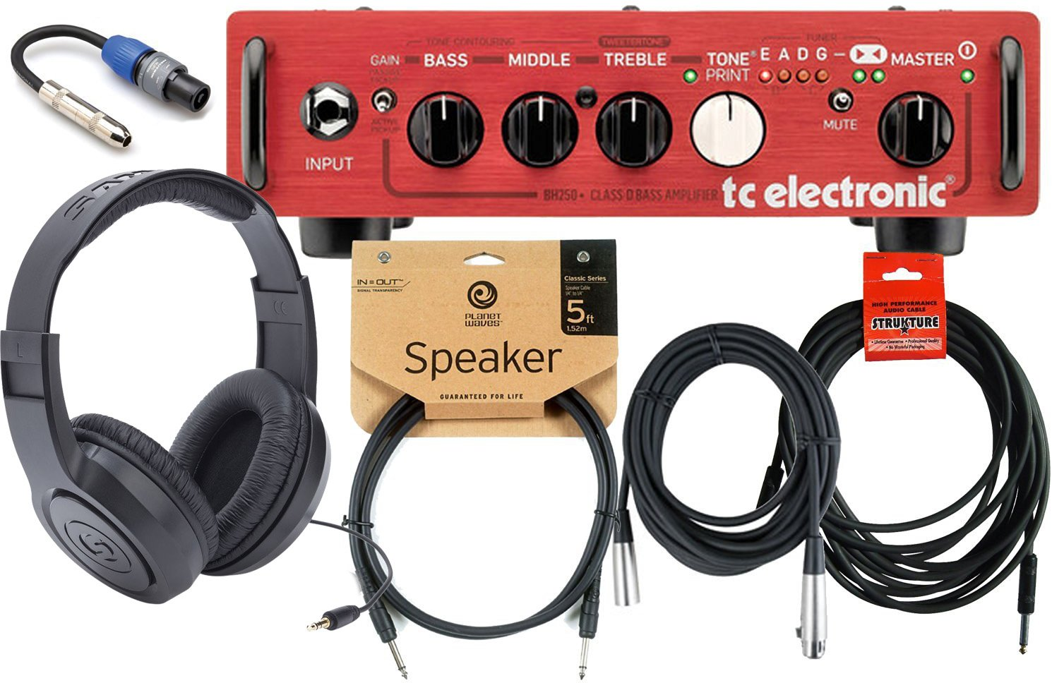 TC Electronic BH250 Bass Guitar Head w/ Speaker Cable, 1/4'' to Speakon Adapter, Headphones, Mic Cable, and Instrument Cable! by TC Electronics