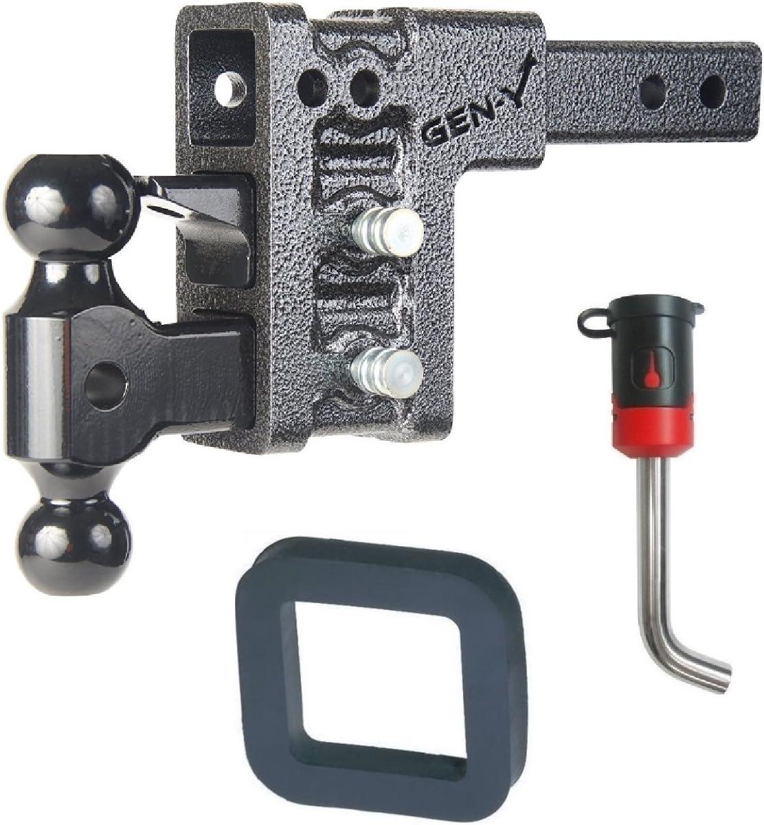 GEN-Y Hitch GH-323 Class IV 2 Receiver 5 Drop Hitch 10K Towing w// 2 Silencer Pad /& 5//8 Receiver Lock Bundle for Dodge//Jeep//Ram Keys