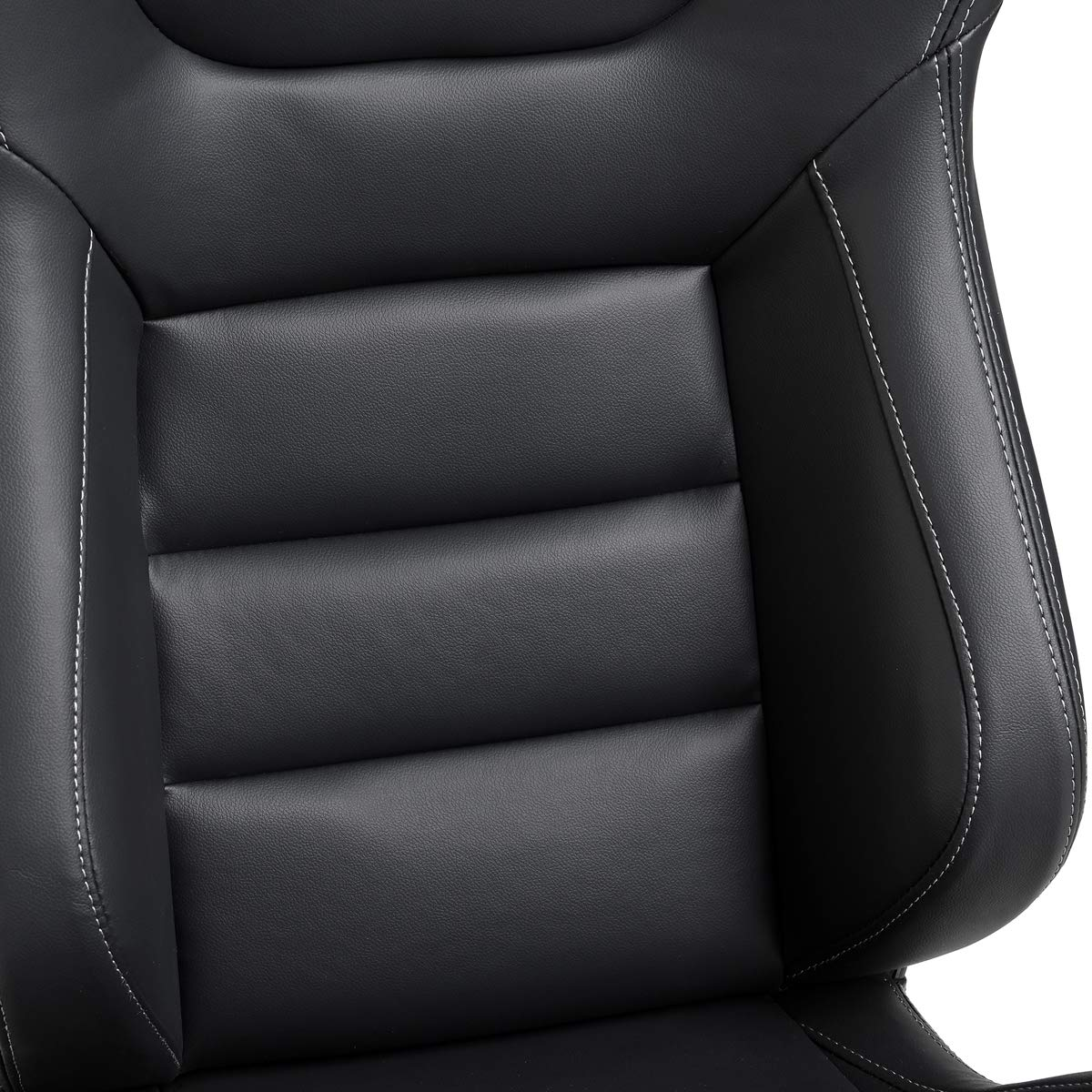 Black with White Stitching Pair of PVC Leather Racing Bucket Seats with Dual Sliders Racing Seats Ship from USA Warehouse
