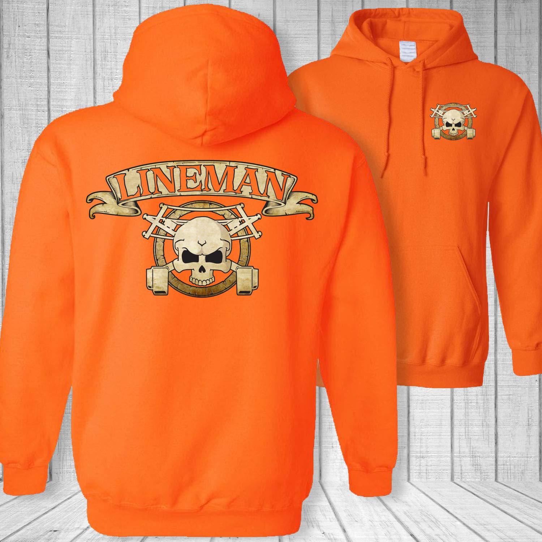 Linemans Skull and Crossbones Hooded Sweatshirt